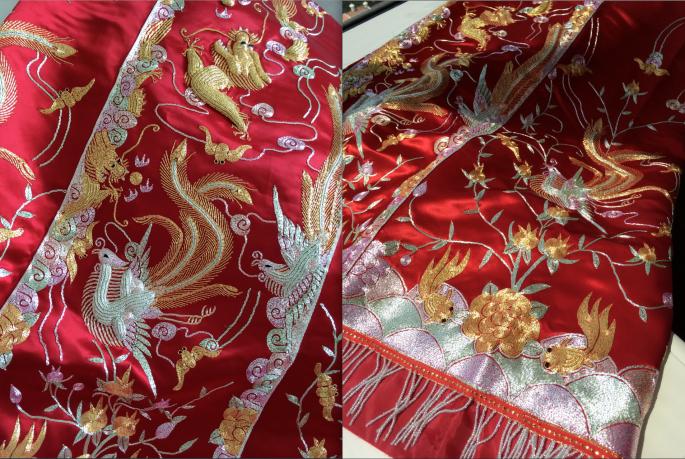 我要的是疏金紅卜龍鳳刺繡款(我愛龍鳳呈祥,寓意情長的意思),以大紅為主的簡單款式拍照出來好sharp 好美!